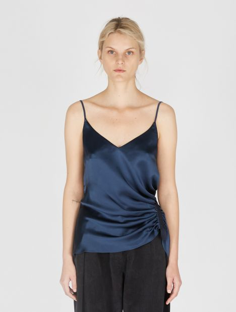 Incline Taped Silk Cami - Navy