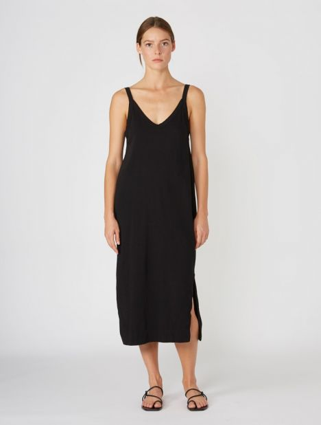 V-Neck Jersey Slip Dress - Black