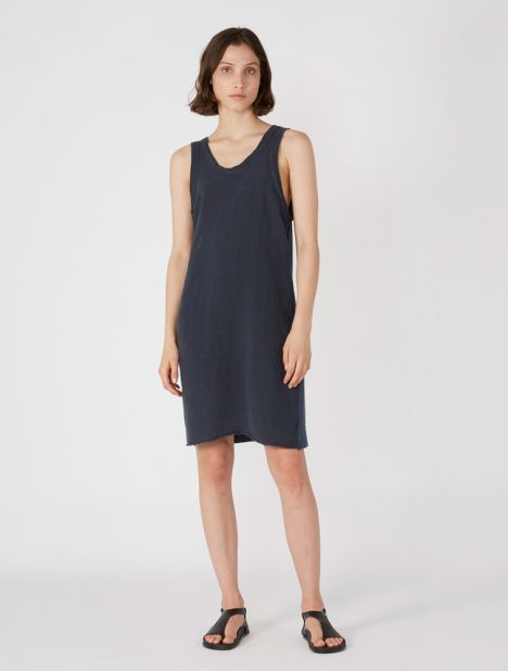 Jersey Linen Slouch Slip Dress - Dark Blue