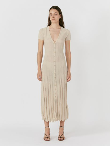 Ribbed Cotton-blend Knit Midi Dress