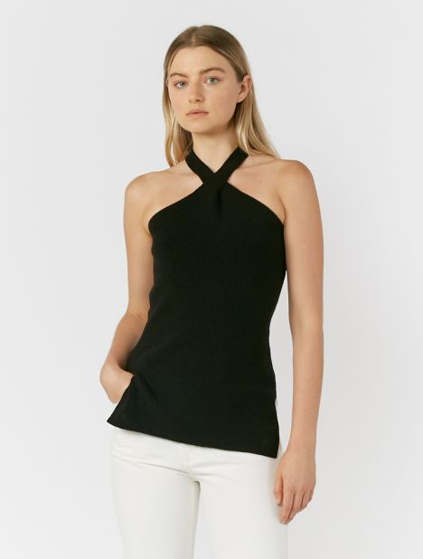 Knitted Crossover Halterneck Top