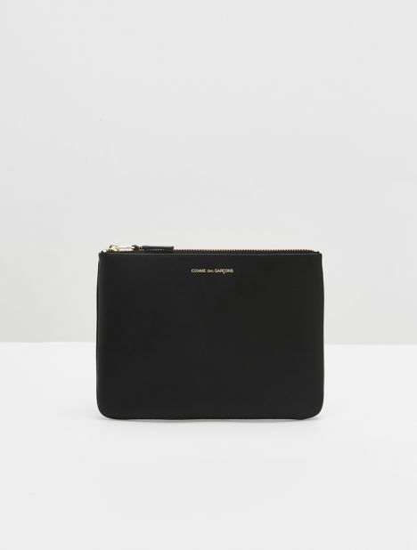 Classic Large Leather Zip Pouch - Black