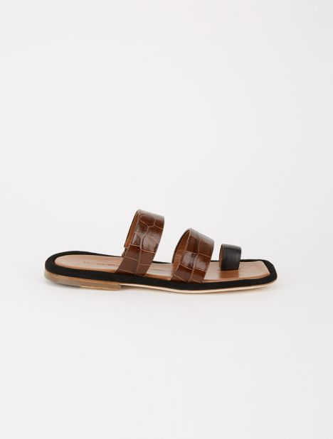 Larissa Embossed Leather Sandal