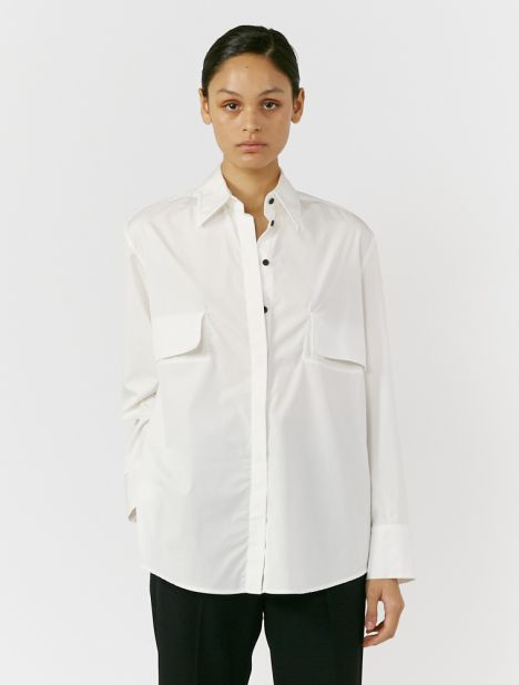Layered Cotton Shirt - White