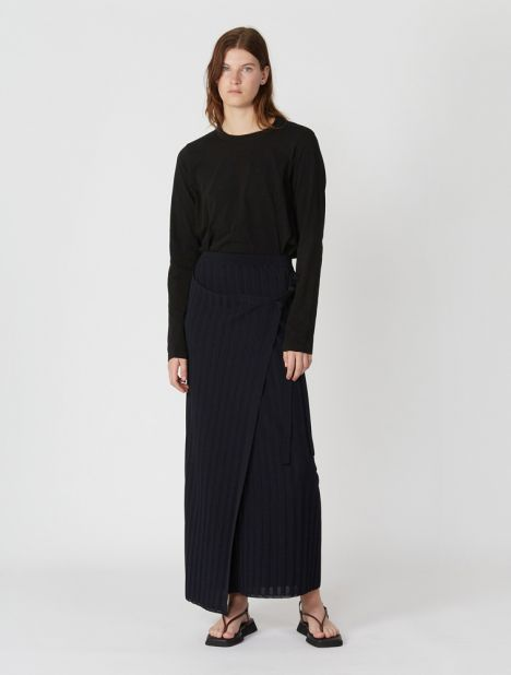 Ribbed-knit Long Wrap Skirt - Navy