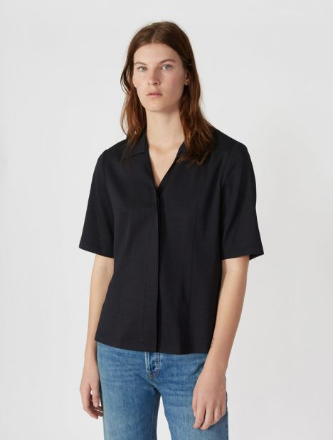 Crepe V-Neck Blouse