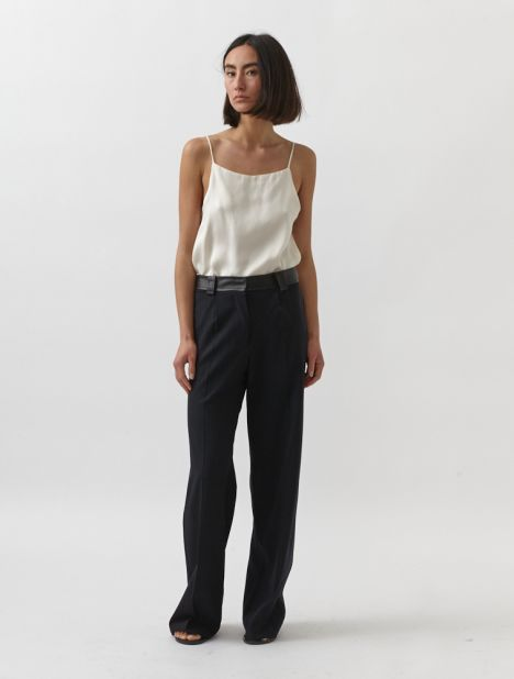 Leather Belted Trouser - Black