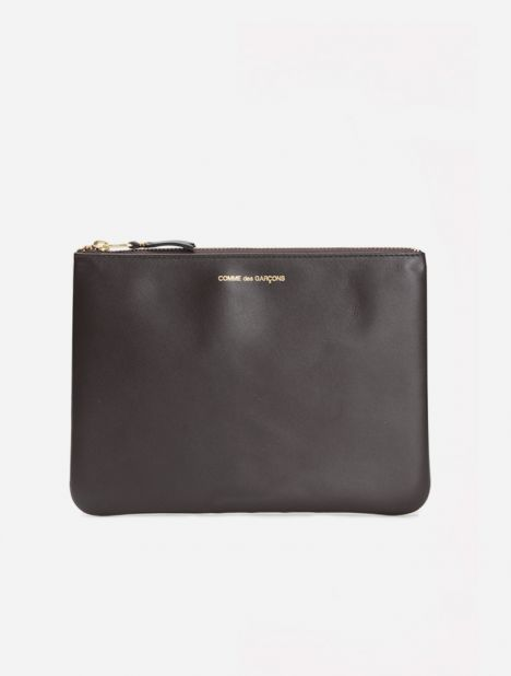 Classic Leather Zip Pouch - Brown