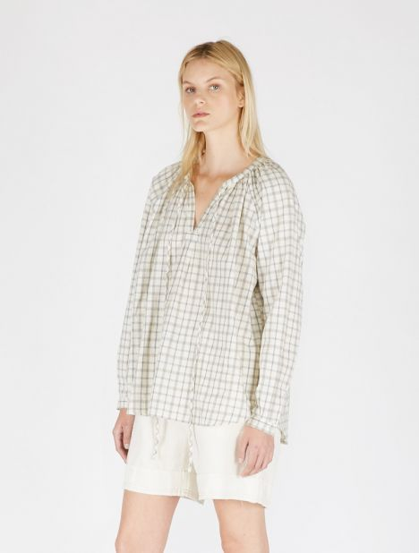Nellie Linen Check Top
