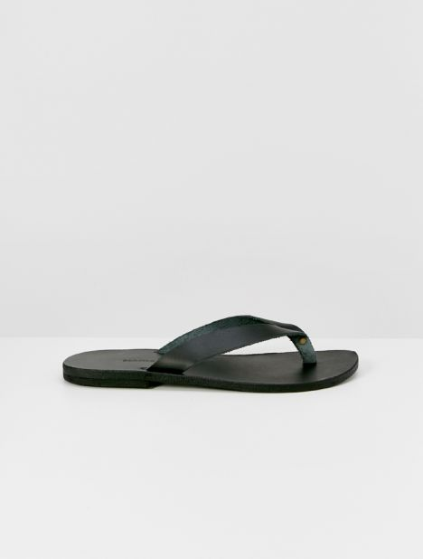 Lex Leather Flip Flops - Black