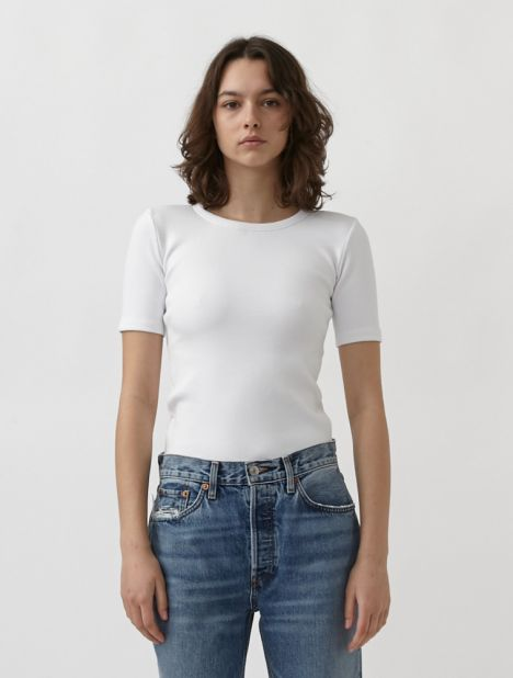 Lillie Ribbed Tee - White