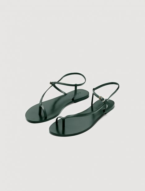 Lily Leather Sandal - Forest Green