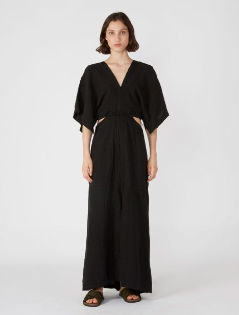 V-Neck Linen Cutout Dress - Black