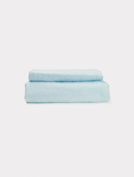 Linen Duvet Set - Light Blue