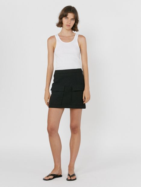 Textured Linen Pocket Skirt