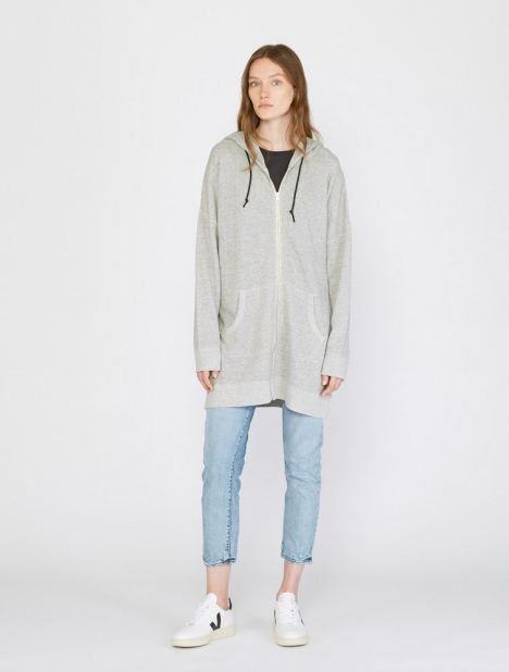 Long Zip French Terry Hoodie
