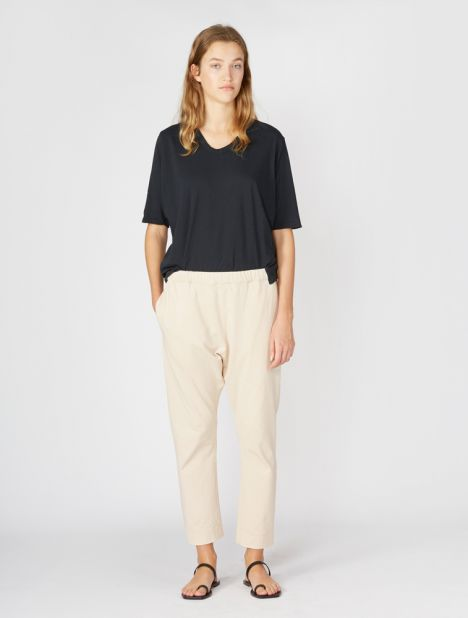 Double Jersey Long Rise Pant - Canvas