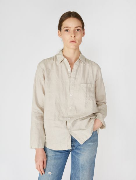 Linen Long Sleeve Shirt - Dove Grey