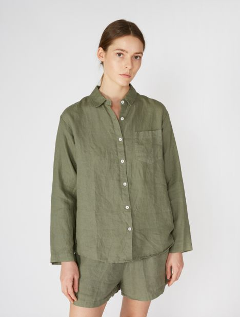 Linen Long Sleeve Shirt - Khaki