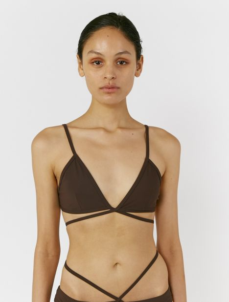 Wrapped Tie Bikini Top - Chocolate