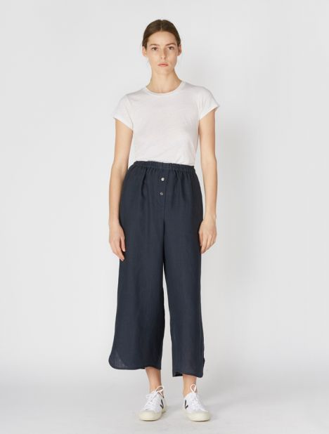 Linen Lounge Pant - Navy
