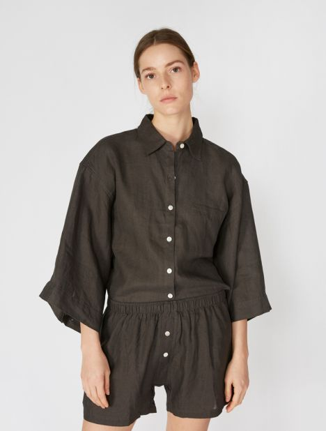 03 Linen Loungewear Set - Washed Black