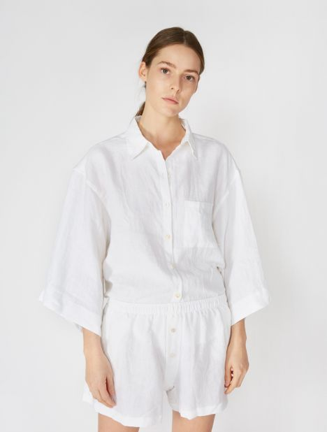 03 Linen Loungewear Set - White