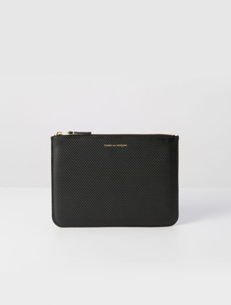 Luxury Leather Zip Pouch - Black