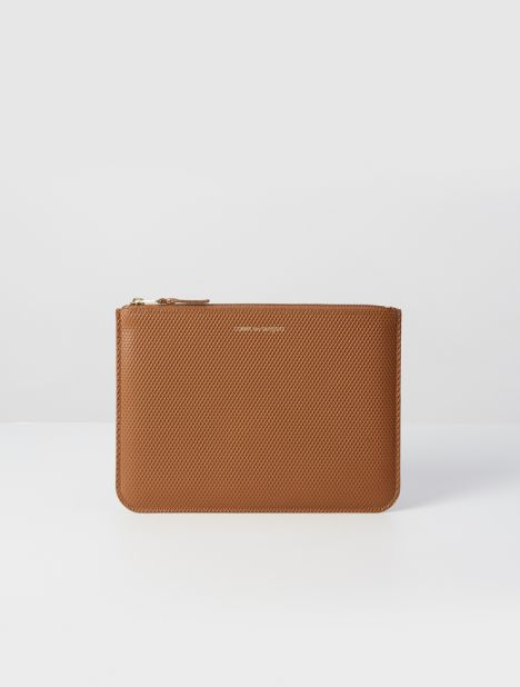 Luxury Leather Zip Pouch  - Tan