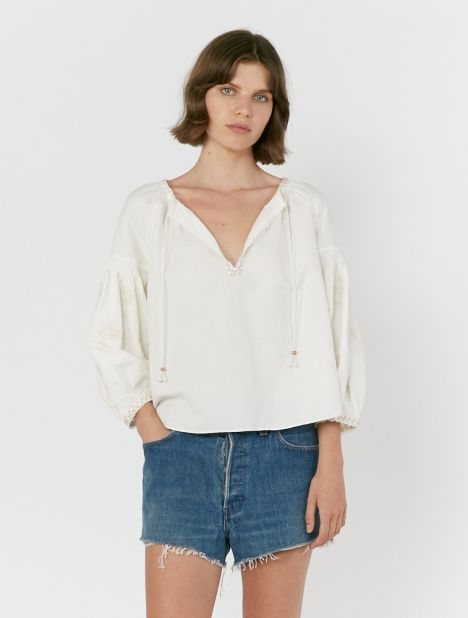 Malissa Embroidered Smock Blouse