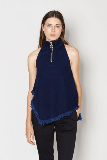 Denim Zip Halterneck