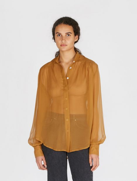 Silk Georgette Yoke Shirt