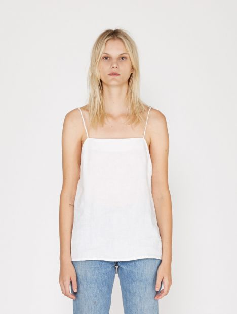 Square Neck Linen Cami - White
