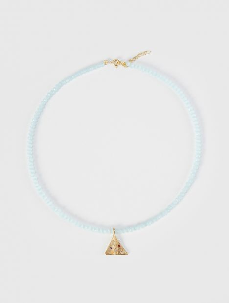 Melies Pyramis Beaded Necklace - Light Blue