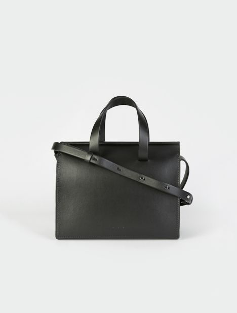 Mini Barrel Leather Bag - Black