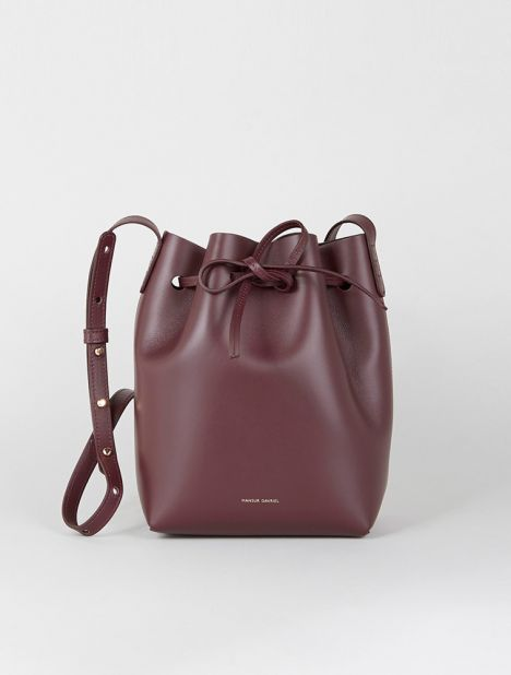 Mini Leather Bucket Bag - Burgundy