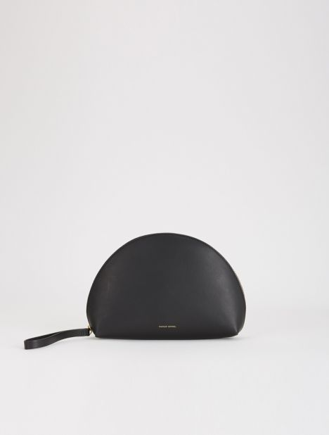 Mini Moon Leather Clutch - Black