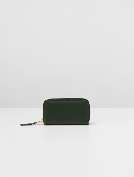 Classic Mini Rectangular Leather Coin Wallet - Bottle Green