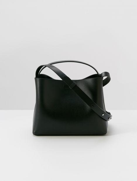 Mini Sac Leather Tote Bag - Black