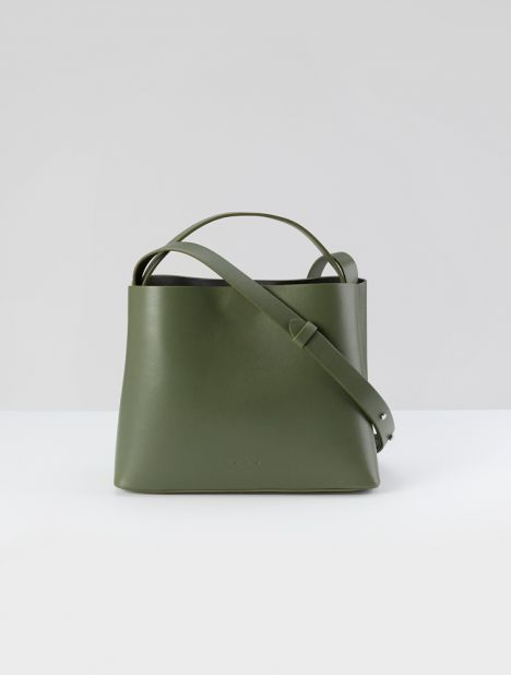 Mini Sac Leather Tote Bag - Olive Green