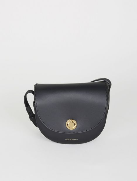 Saddle Mini Leather Shoulder Bag - Black