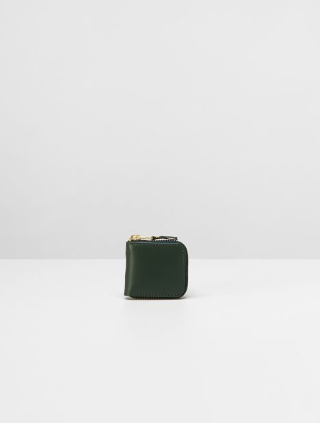 Classic Mini Square Leather Coin Wallet - Bottle Green