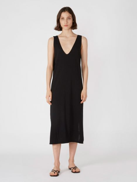 Minimal V-Neck Tank Dress - Black