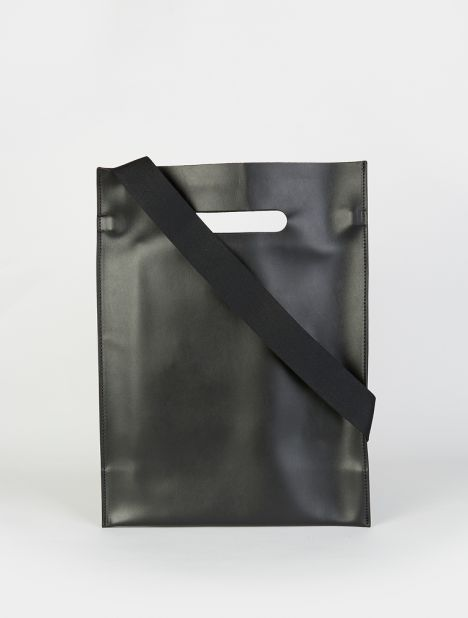 Leather Shopper Tote - Black