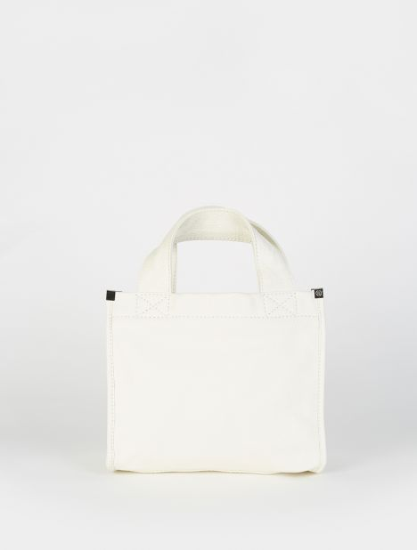 Mini Leather Tote - White