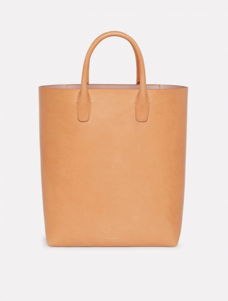 North South Leather Tote - Cammello / Antico