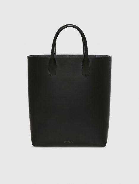 North South Leather Tote - Black