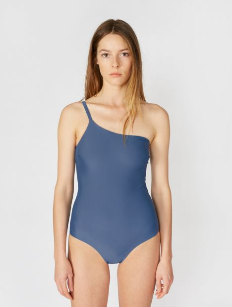 One Shoulder Maillot - Denim