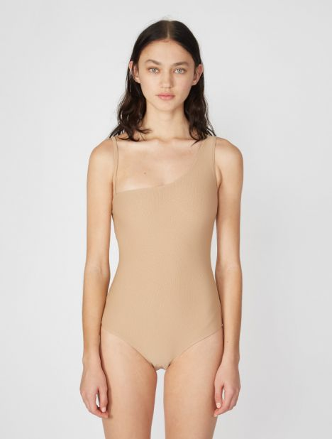 One Shoulder One-Piece - Nude