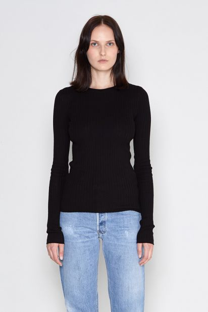 Ribbed Cotton Pullover - Black